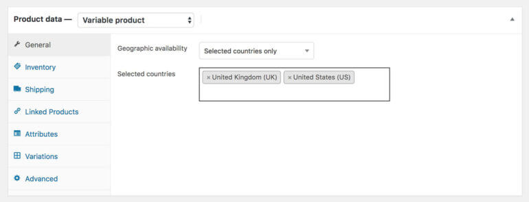 WooCommerce country specific products plugin