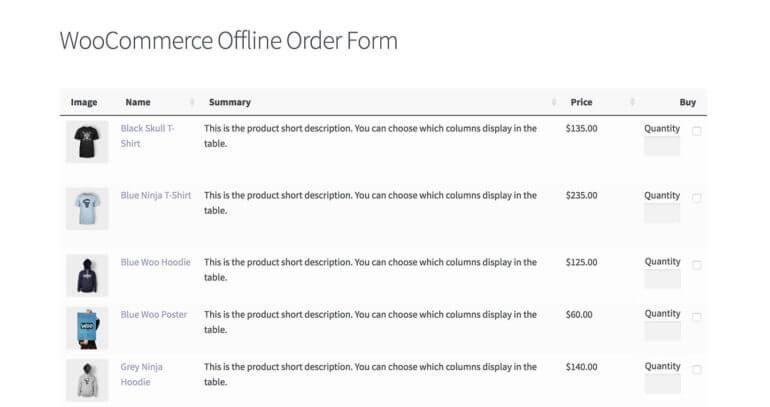 WooCommerce offline order form plugin