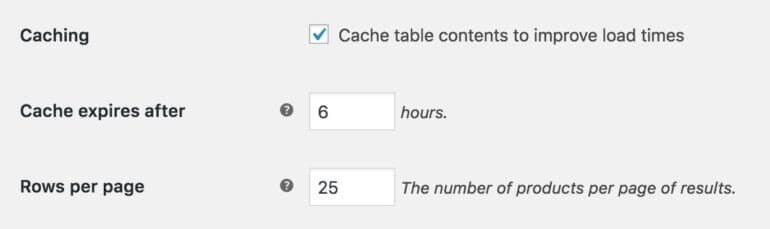 Posts Table Pro caching option