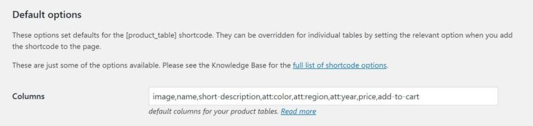Adding attributes to your product table columns.