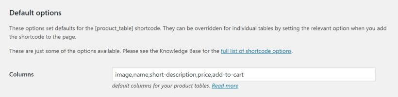 Setting up columns in WooCommerce Product Table.