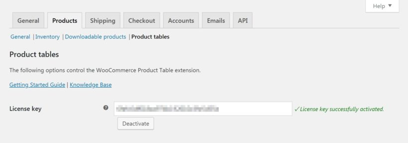 The Product tables settings page.
