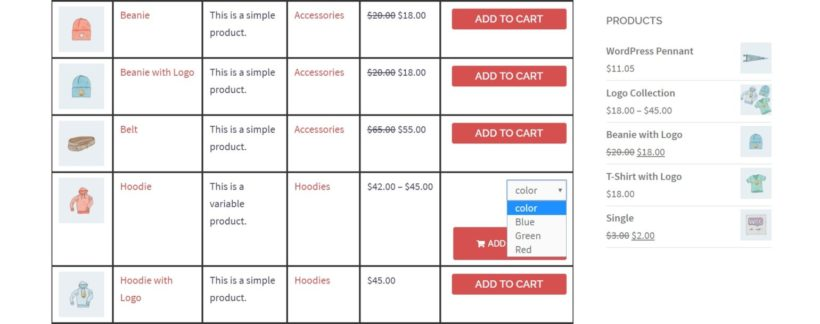 A WooCommerce quick order form with drop-down menus.