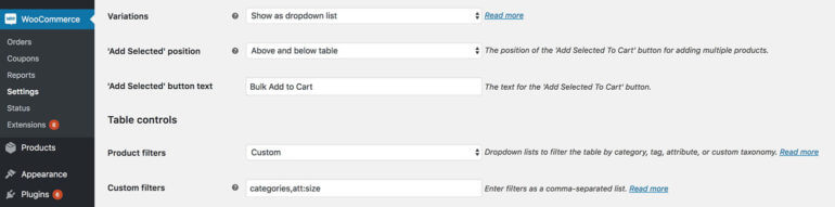 WooCommerce product table variation settings