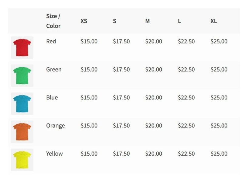 WooCommerce variations pricing table