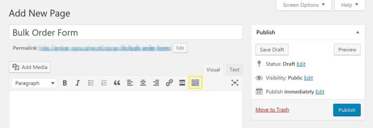 Adding a WooCommerce bulk order form in the WordPress editor.