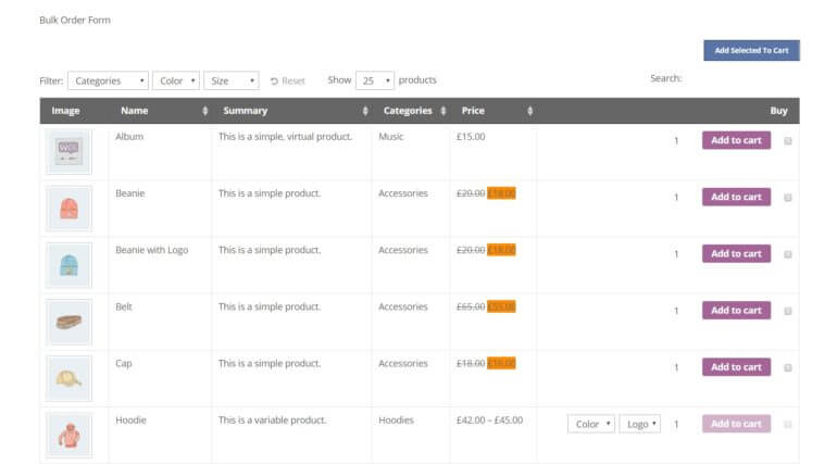 An example of a customized WooCommerce bulk order form.