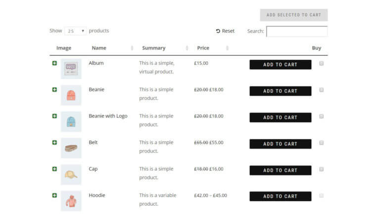 An example of a WooCommerce one page order form.