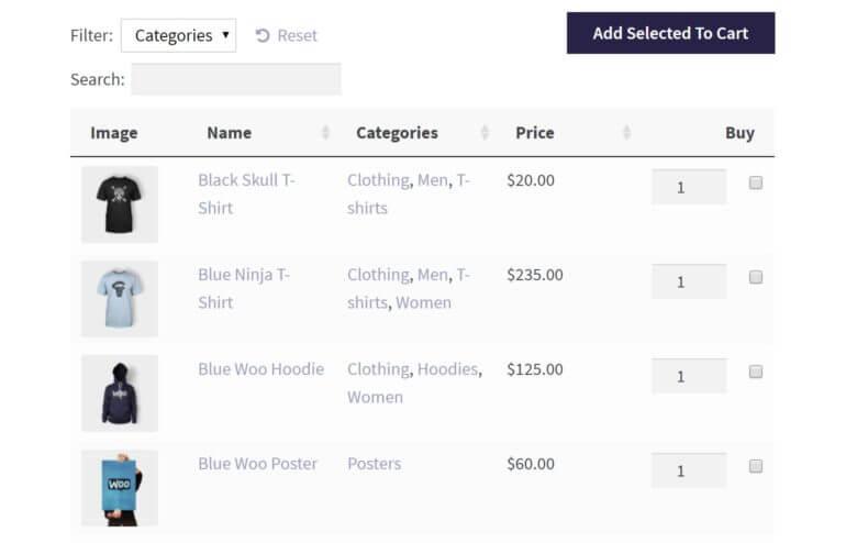 A WooCommerce bulk order form.