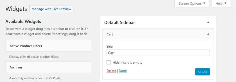The WooCommerce cart widget.