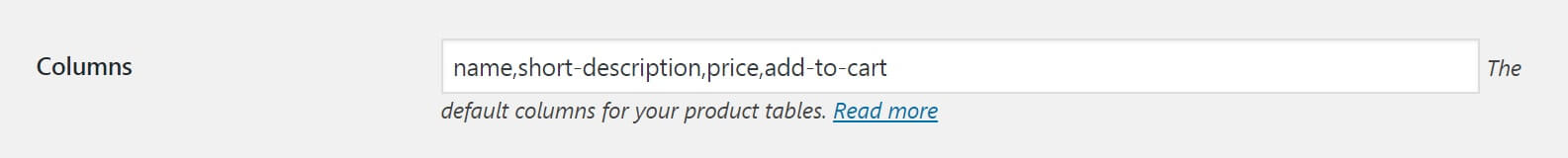 The WooCommerce Product Table settings for columns.