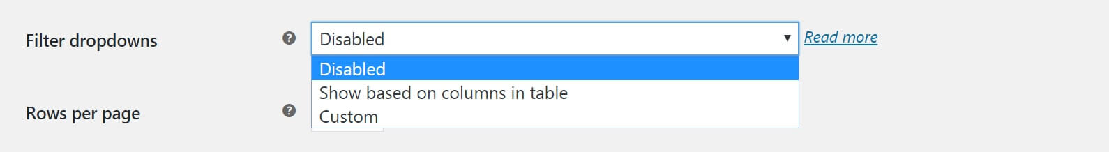 The WooCommerce Product Table settings for filters.