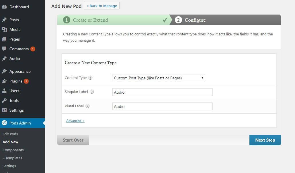 create new custom post type