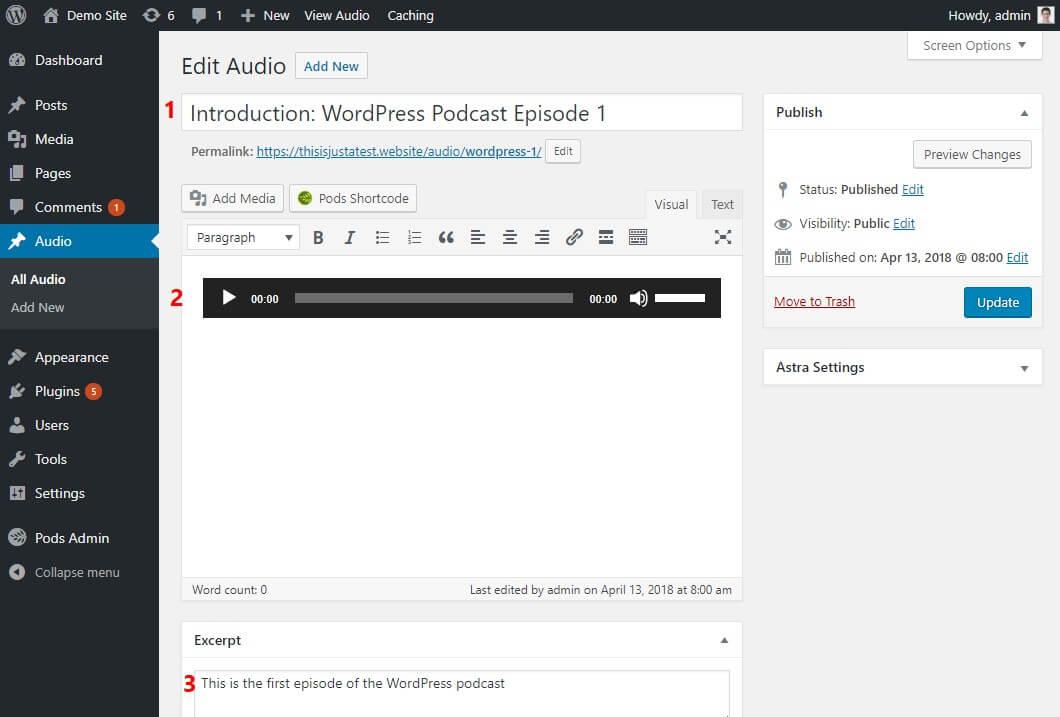 add audio to wordpress