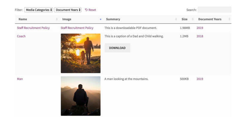 Front end WordPress media library filters