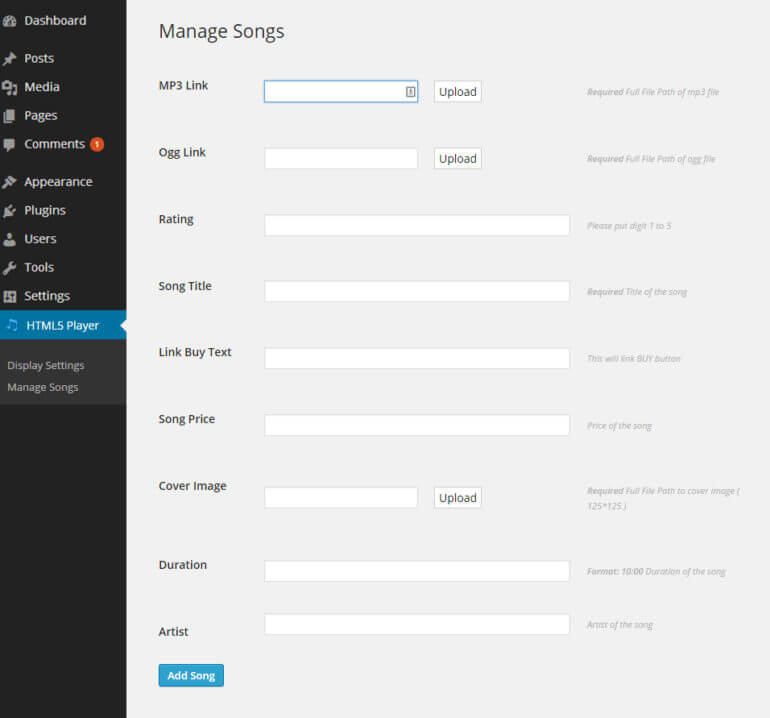 WordPress audio player plugin add songs