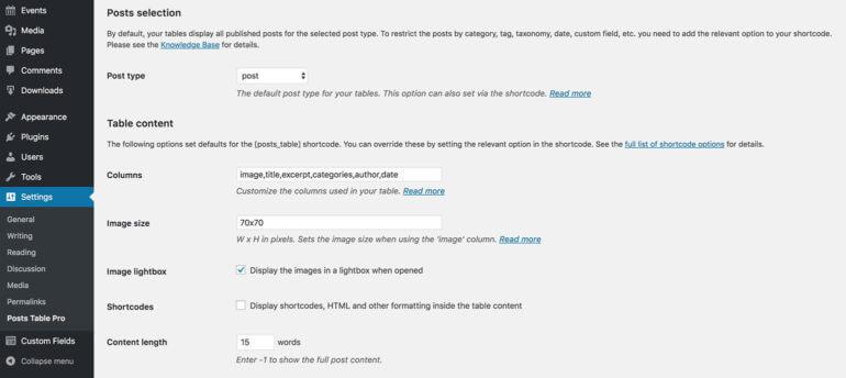 Posts Table Pro WordPress plugin settings page