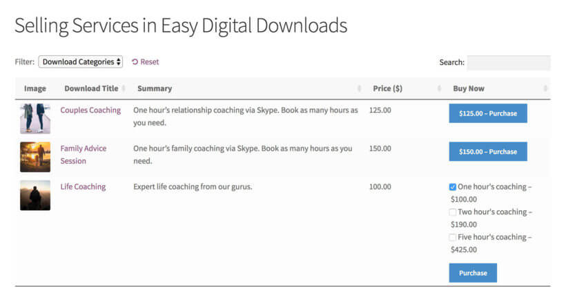 Selling Services Easy Digital Downloads Plugin