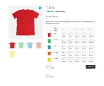 WooCommerce Bulk Variations screenshot