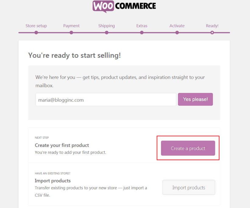 Button to begin creating your first product in WooCommerce