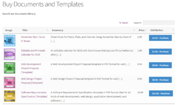 Preview of the Posts Table Pro on the front-end listing documents