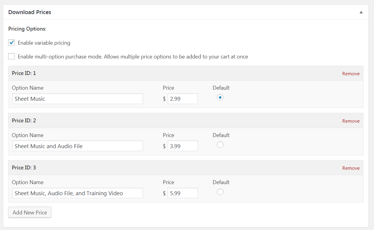 Pricing Options set for variable pricing in Easy Digital Downloads