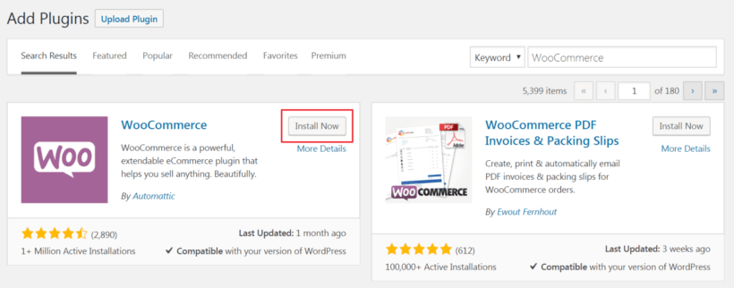 Install Now button to install the WooCommerce plugin