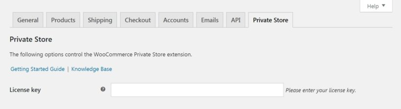 The WooCommerce Private Store license key field.