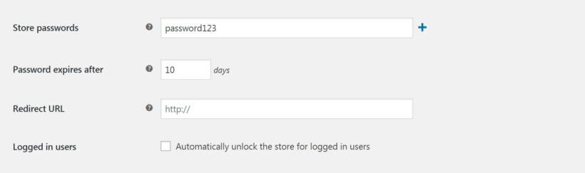 The WooCommerce Private Store settings.