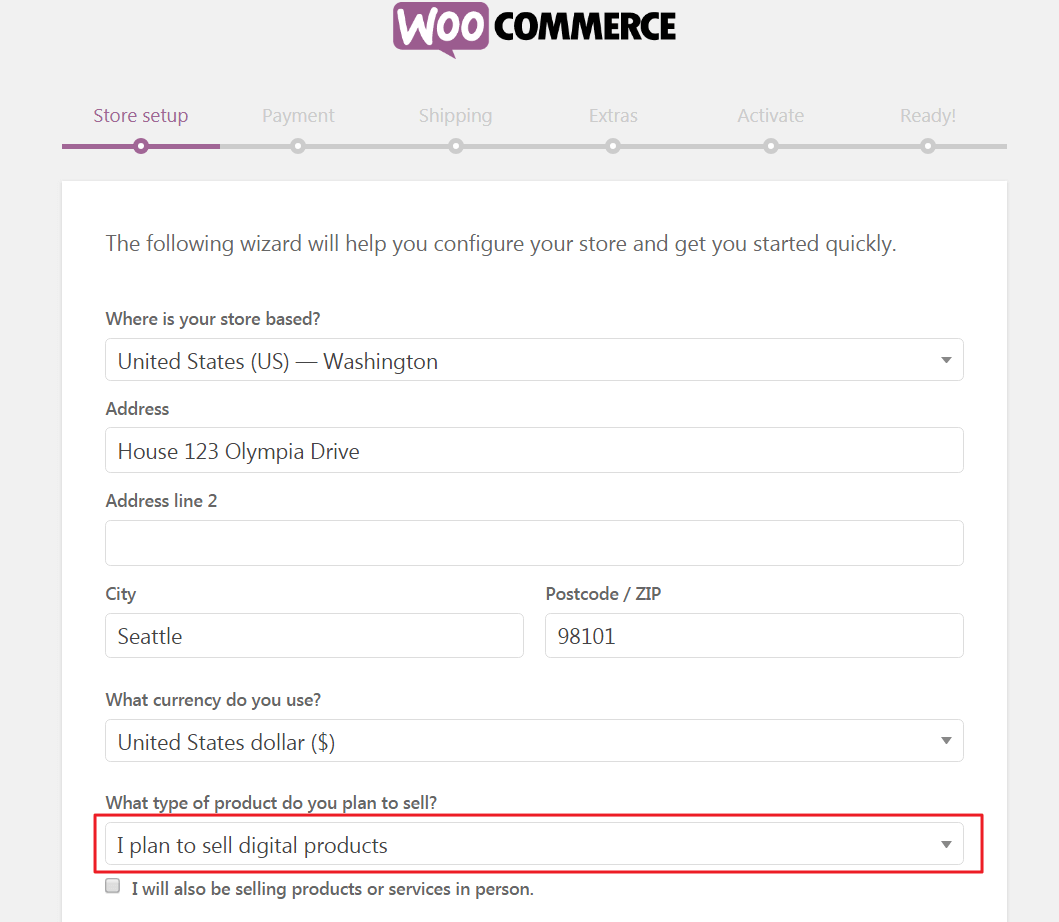 Type of product field in the WooCommerce setup wizard