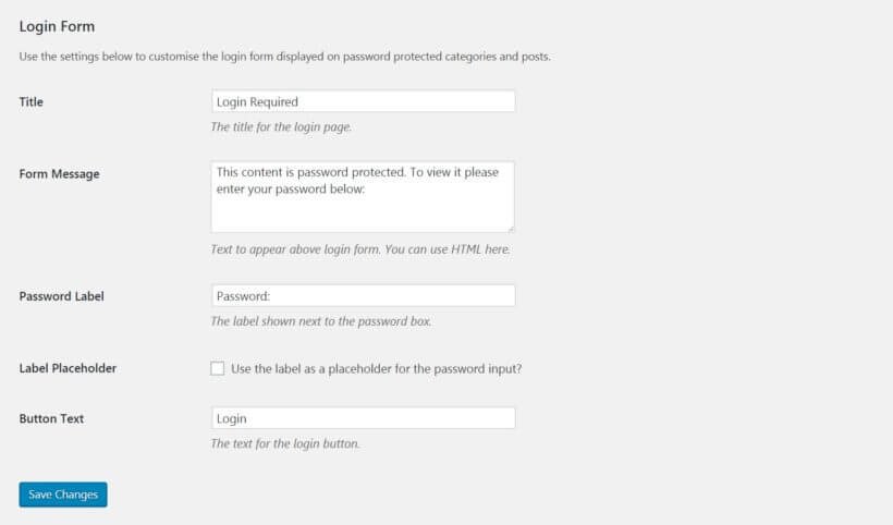 The Password Protected Categories login form options.