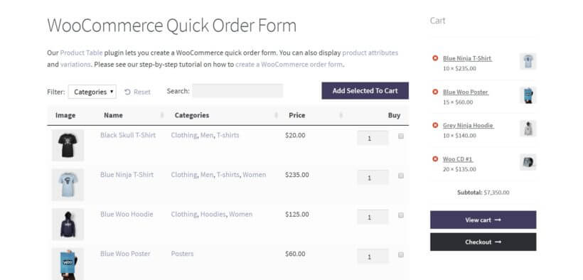 A bulk order form and WooCommerce cart widget.