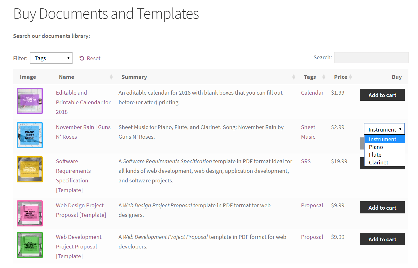 Preview of document product variations on the front-end using WooCommerce Product Table plugin