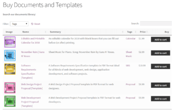 Preview of the WooCommerce Product Table on the front-end listing documents