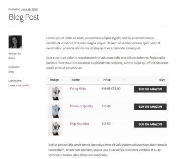 WooCommerce comparison table affiliate blog