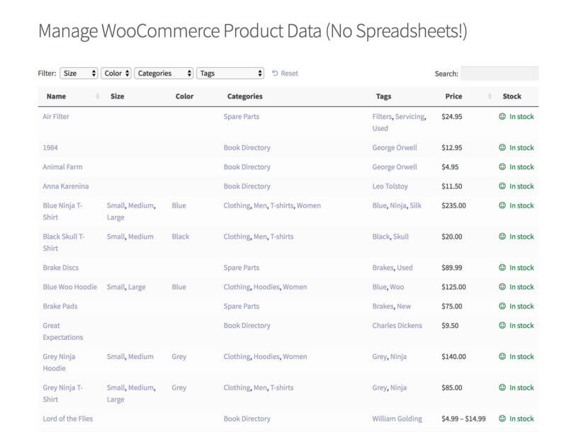 WooCommerce spreadsheet plugin bulk manage products