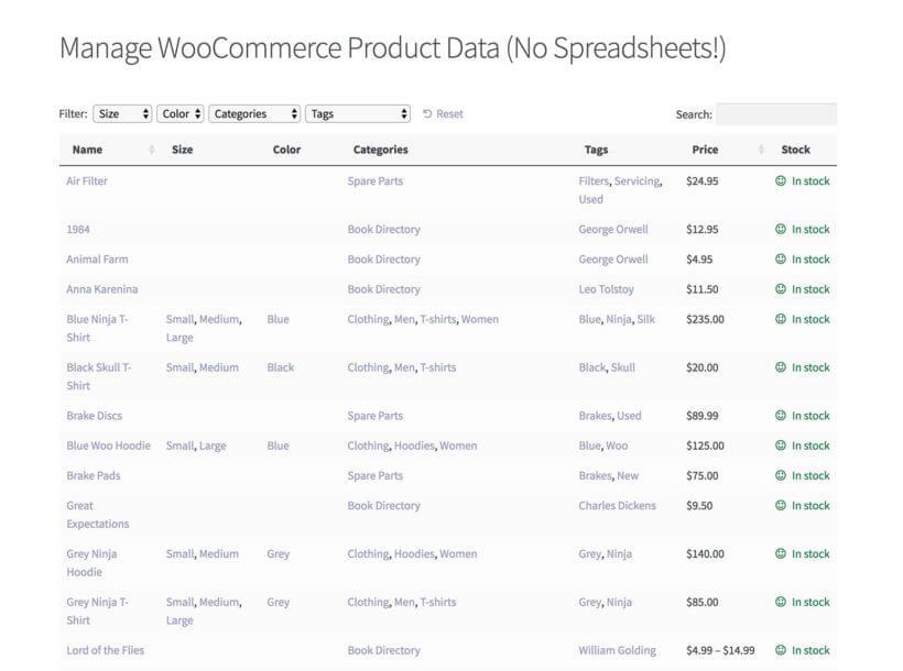 WooCommerce spreadsheet plugin bulk manage products