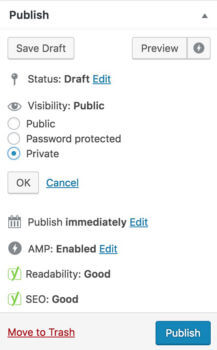 WordPress private page visibility