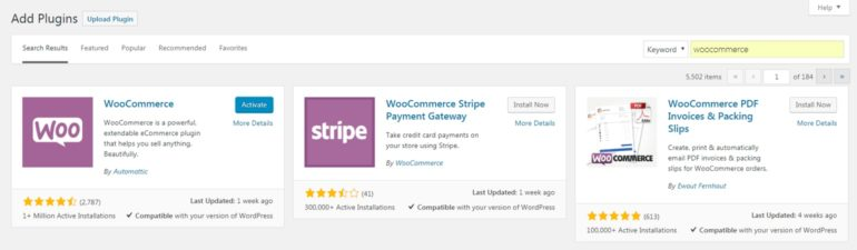 Activating the WooCommerce plugin.