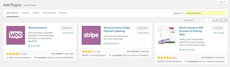 Installing the WooCommerce plugin.