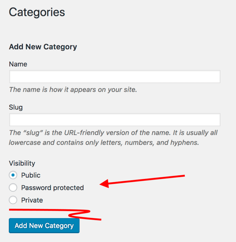 WordPress category options