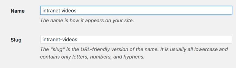WordPress intranet category