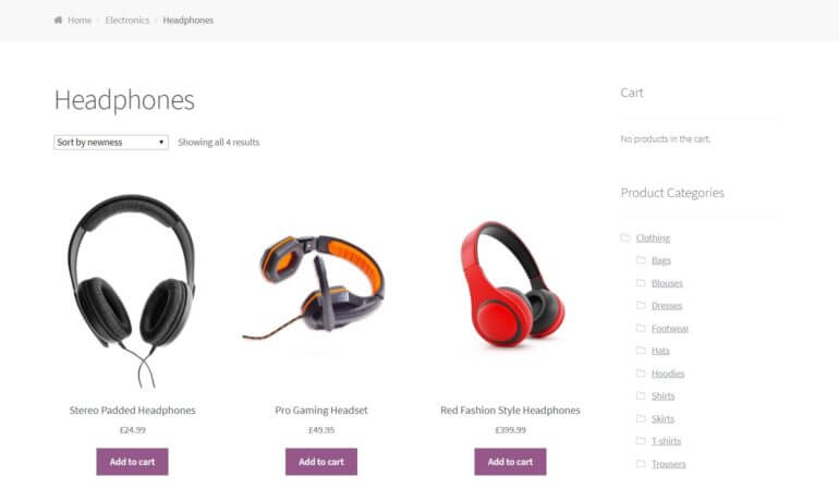 An example of a WooCommerce store.