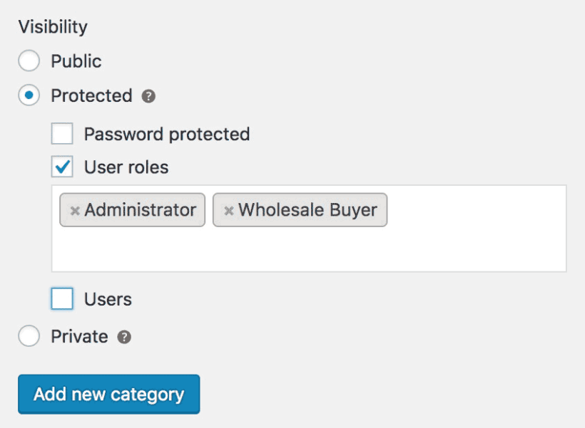WooCommerce Protected Categories User Role Protection