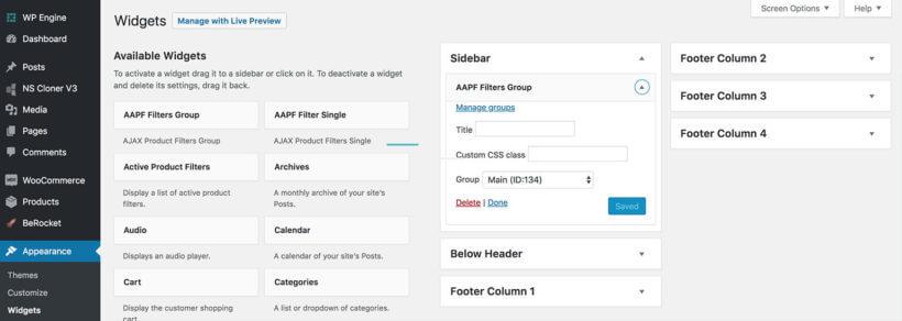 WooCommerce AJAX filter widgets
