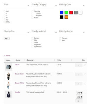 WooCommerce AJAX filter widgets above product table