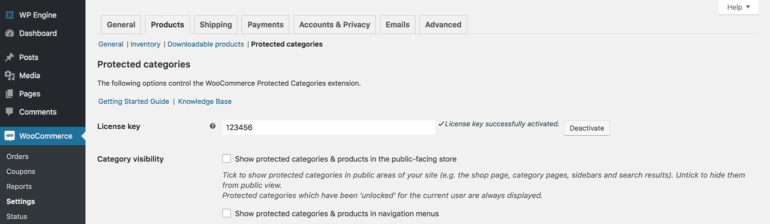 WooCommerce Protected Categories Visibility Settings