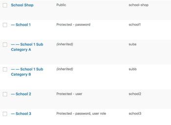 WooCommerce hidden shop schools category structure