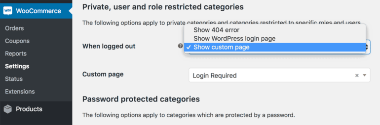 WooCommerce protected categories redirect for logged out users