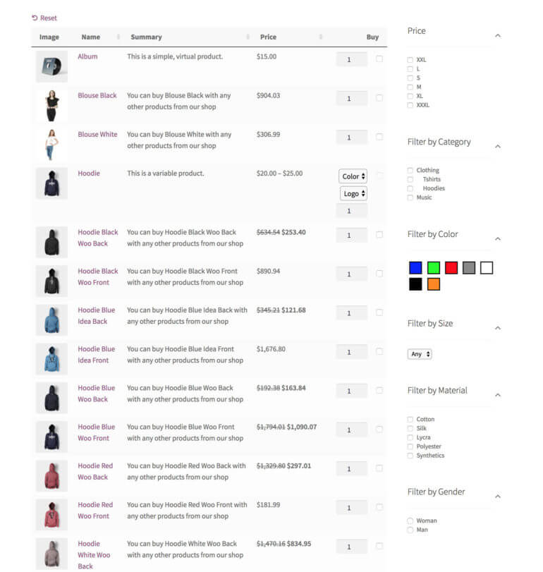 WooCommerve AJAX filter widget plugin